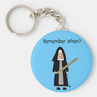 "Funny Nun Cards :Nuns Carried Rulers"" Keychain"