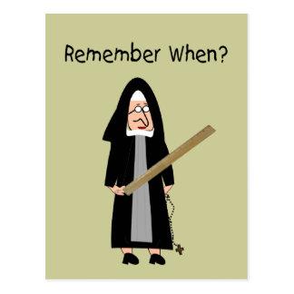 "Funny Nun Cards :Nuns Carried Rulers"" Postcard"