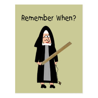 """Funny Nun Cards :Nuns Carried Rulers"""" Postcards"""