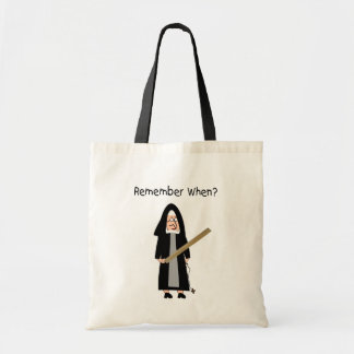 """Funny Nun Cards :Nuns Carried Rulers"""" Tote Bag"""
