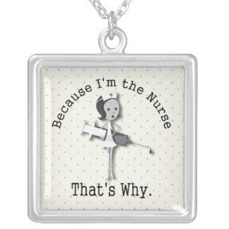 Funny Nurse Cartoon Square Pendant Necklace