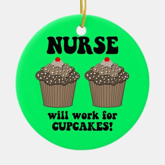 funny nurse ceramic ornament