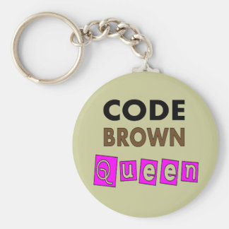 "Funny Nurse ""CODE BROWN QUEEN"" Gifts Basic Round Button Keychain"