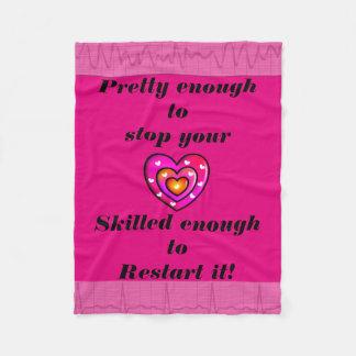 Funny Nurse Fleece Blanket Pink