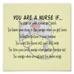 "Funny Nurse Poster ""You Are a Nurse If"""