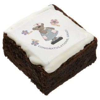 Funny Nurse Teddy Bear design Graduation Brownies