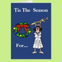 Funny Nurse With Needle Christmas Card