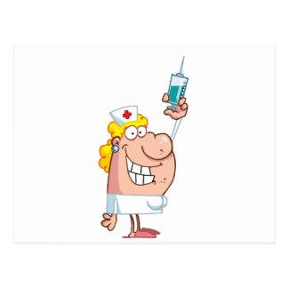 Funny Nurse-with-syringe shot Postcard