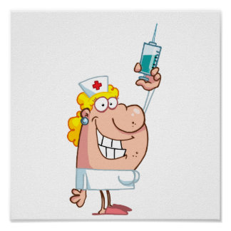 Funny Nurse-with-syringe shot Posters