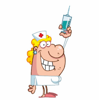 Funny Nurse-with-syringe shot Standing Photo Sculpture