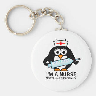 Funny nursing keychains with cute penguin nurse