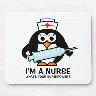 Funny nursing mousepad with cute penguin nurse