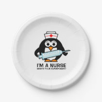 Funny nursing party plates with cute penguin nurse
