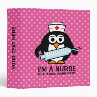 Funny nursing ring binder with cute penguin nurse