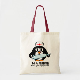 Funny nursing tote bag with cute penguin nurse
