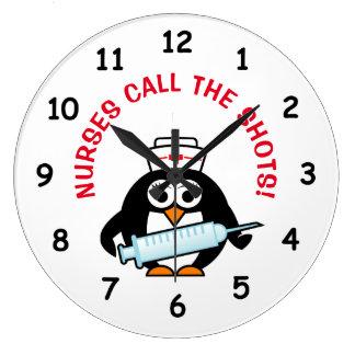 Funny nursing wall clock with cute penguin nurse