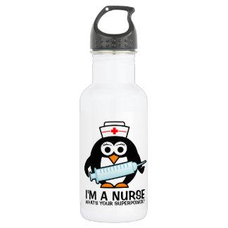 Funny nursing water bottle with cute penguin nurse