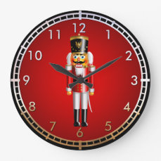 Funny Nutcracker Toy Soldier Cartoon Large Clock