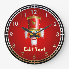 Funny Nutcracker Toy Soldier Large Clock