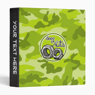 Funny Nuts; bright green camo, camouflage Binder