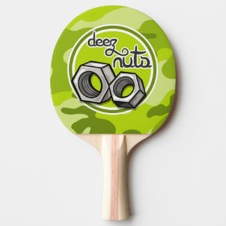 Funny Nuts; bright green camo, camouflage Ping-Pong Paddle