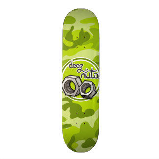 Funny Nuts; bright green camo, camouflage Skateboard