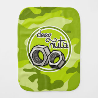 Funny Nuts; bright green camo, camouflage Burp Cloths