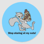 Funny nuts squirrel round stickers