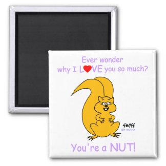 Funny Nutty Valentine Squirrel Cartoon Magnet