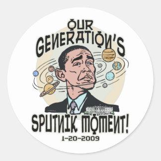 Funny Obama Sputnik Moment Classic Round Sticker