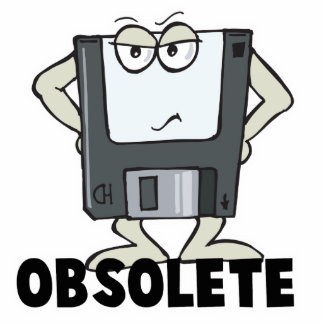 funny obsolete floppy disk standing photo sculpture