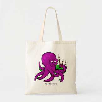Funny Octopus Bagpipes Illustration Tote Bag