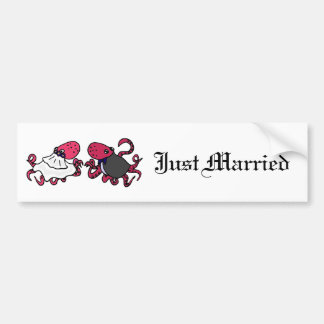 Funny Octopus Bride and Groom Wedding Art Bumper Sticker