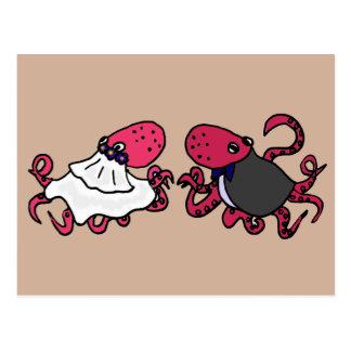 Funny Octopus Bride and Groom Wedding Art Postcard