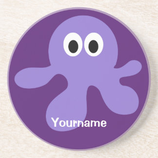 Funny Octopus custom monogram coaster