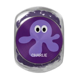 Funny Octopus custom monogram tins & jars Glass Candy Jar