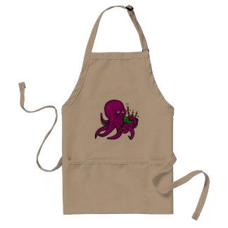 Funny Octopus  Illustration Cartoon Bagpipes Adult Apron
