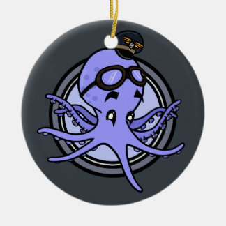 FUNNY OCTOPUS PILOT CHRISTMAS ORNAMENT