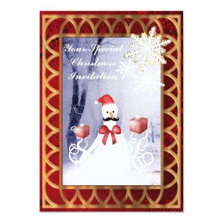 "Funny octopus Santa snowman on red Christmas 5"" X 7"" Invitation Card"