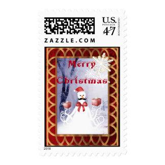 Funny octopus snowman Santa Claus Christmas Postage