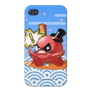 Funny Octopus with Mustache and Wave Pattern Covers For iPhone 4