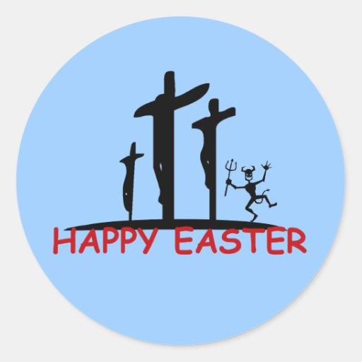Funny offensive Satan Classic Round Sticker