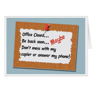 Funny Office Message Bulletin Board Sign Greeting Card