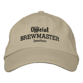Funny Official Brewmaster Beer Lover Custom Name Embroidered Hat