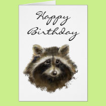Funny, Old Age, Humor,  Birthday Raccoon Card