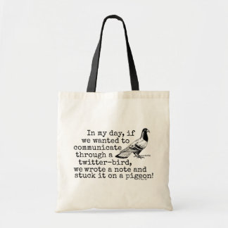 Funny Old Age Twitter Bird Pigeon Canvas Bag