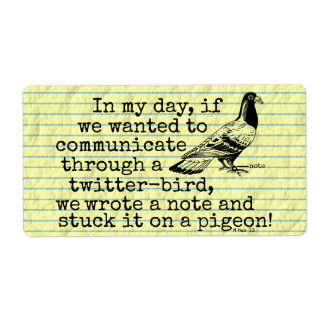 Funny Old Age Twitter Bird Pigeon Custom Shipping Label