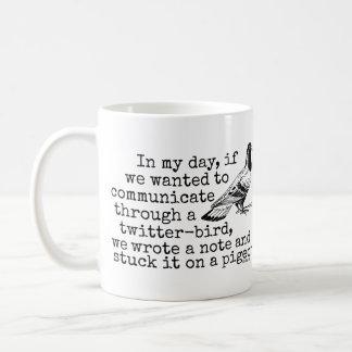Funny Old Age Twitter Bird Pigeon Coffee Mugs