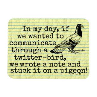 Funny Old Age Twitter Bird Pigeon Rectangular Magnet