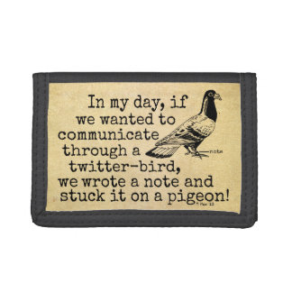 Funny Old Age Twitter Bird Pigeon Tri-fold Wallets
